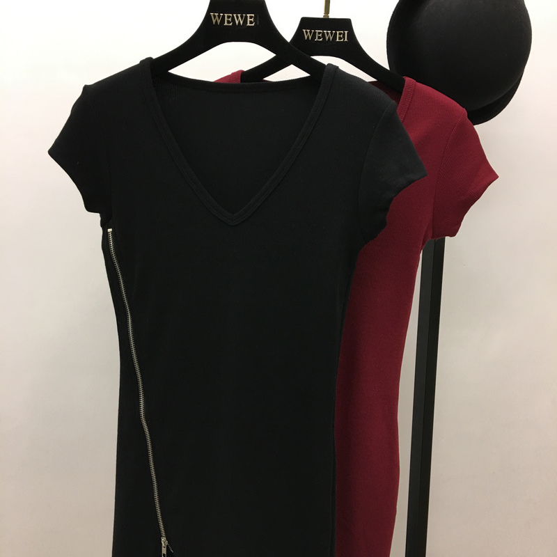2018 mới mùa xuân và mùa hè Châu Âu và Hoa Kỳ Van cá tính thời trang màu rắn V cổ áo sexy side zipper ngắn Slim dress