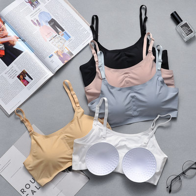 Ice silk three-breasted chest wrap underwear girl student anti-failure sling tube top showing chest small no steel ring bra thin section