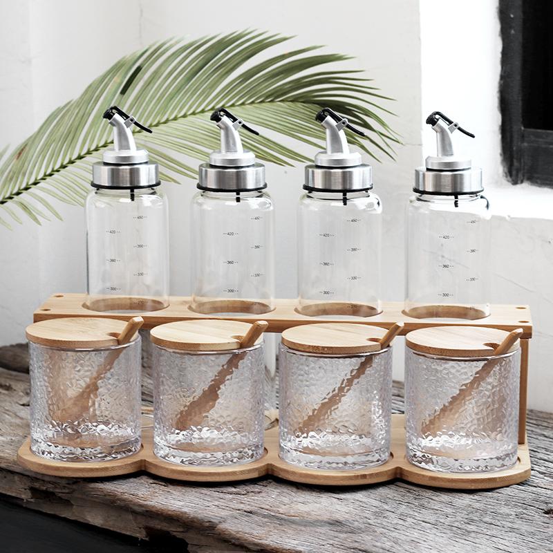 日式厨房油瓶盒套装双层v厨房装陶瓷调料调料家用家用瓶调味罐盐罐