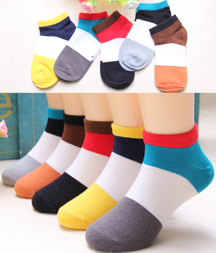 5 PAIRS OF SUMMER COLOR MATCHING BOAT SOCKS