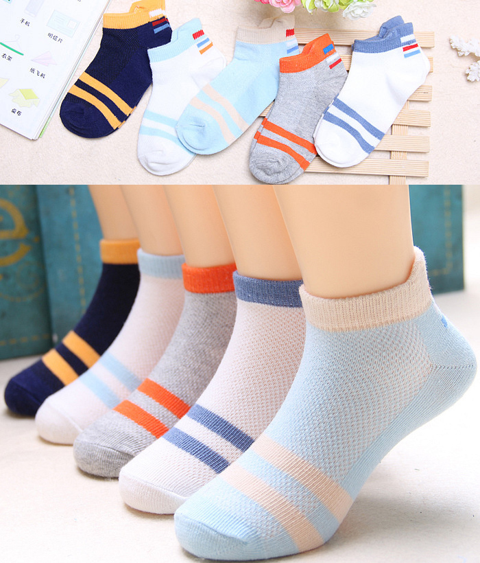 5 PAIRS OF SUMMER TWO BAR BOAT SOCKS