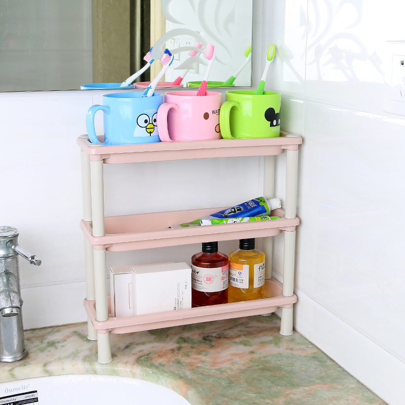 Multi-function rack kitchen bathroom storage rack mini plastic shelf ...
