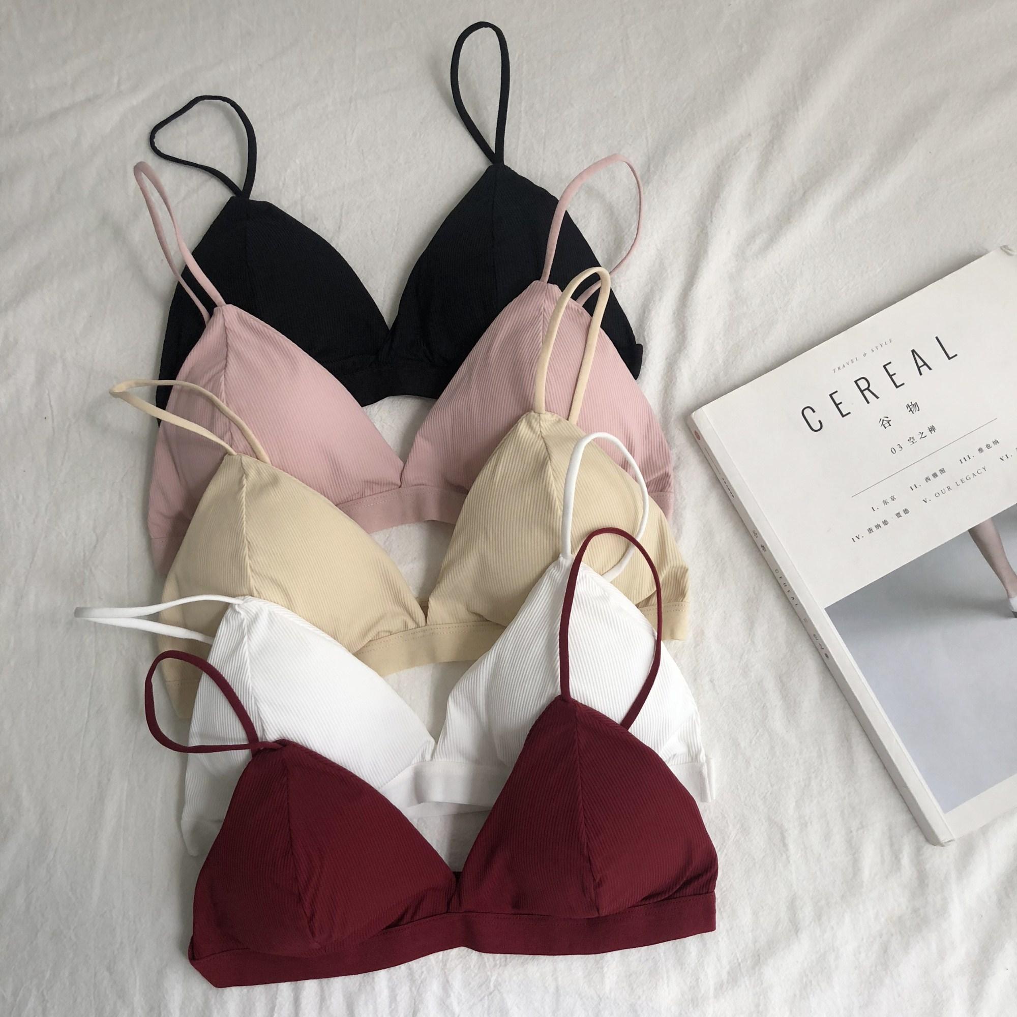 法式内衣女无钢圈薄款少女吊带性感三角杯文胸带胸垫抹胸2021新款