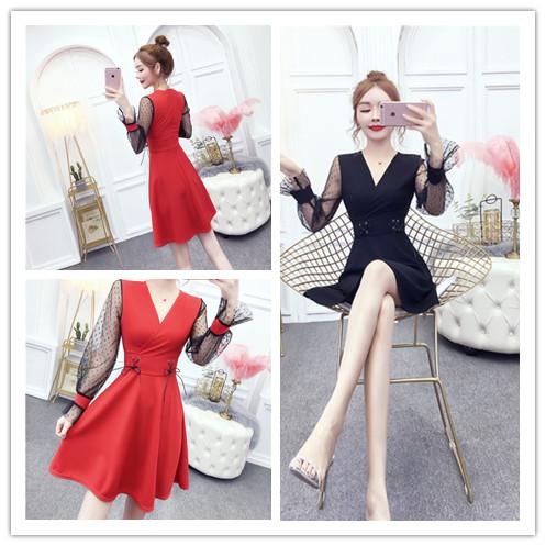 实拍新款韩版高腰显瘦中长款V领网纱长袖连衣裙