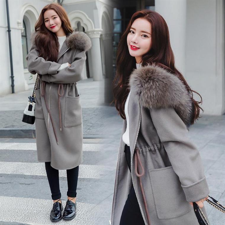 2019秋冬款韩版中长款女装学生大衣女韩国呢子bf原宿毛呢女外套