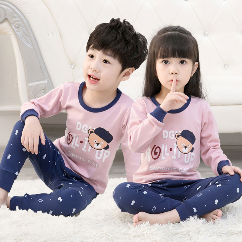 Baby Suit Female Baby Pajamas Autumn Cotton Thin Section Children Girls Home Service