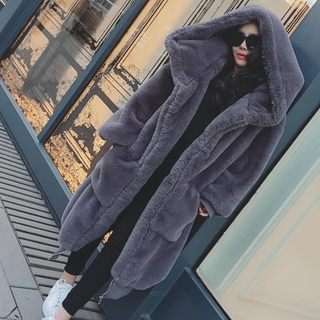 2019 autumn and winter new GIGI with the same paragraph, 獭 rabbit hair, thick, hooded hair, fur coat, fur dress