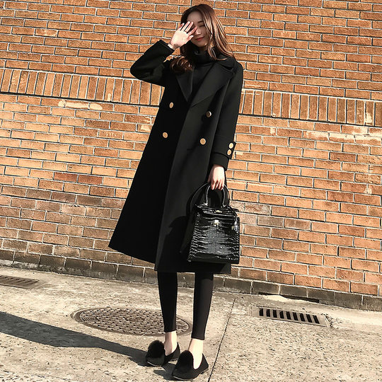Anti-season clearance 2019 new Korean version of loose hair coat female medium-length black Hepburn wind coat