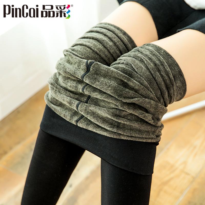 秋冬季棉一体发热保暖裤打底裤女裤加绒加厚款高腰踩脚黑显瘦外穿