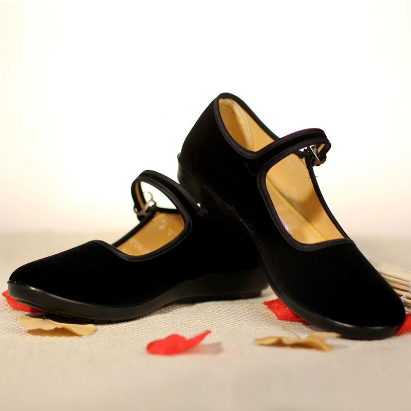 初羡经典老北京布鞋女黑色工作平跟防滑黑一代中老年广场舞妈妈鞋