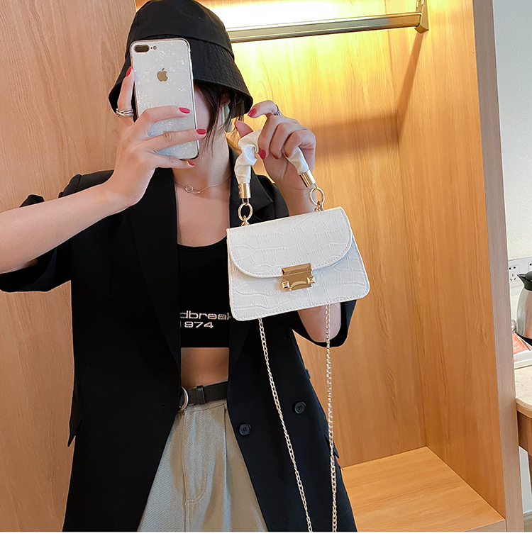 Fashion new stone pattern stereotyped handbag Korean candy color single shoulder bag diagonal chain bag wholesale NHXC237875