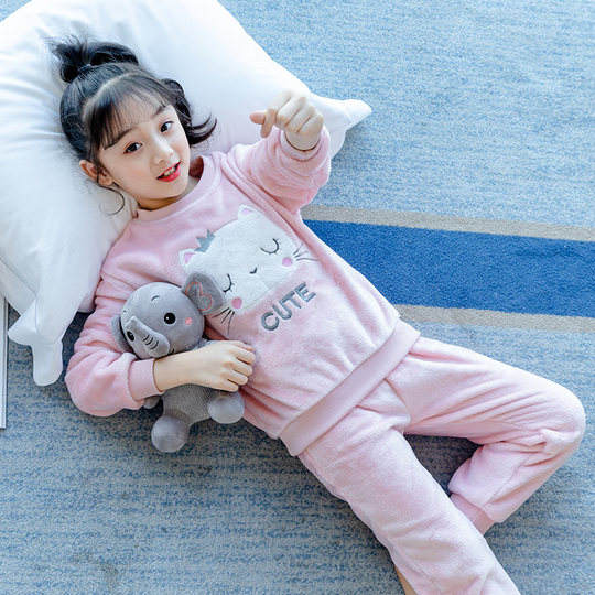 Girls autumn and winter coral fleece pajamas girls home service children flannel thickened princess pajamas warm suit