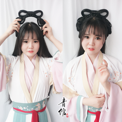 Chinese Hanfu wig princess fairy cosplay hair wig ancient Chinese style novice hand remnant party hair bun lazy man simple ancient costume cat ear pad contract