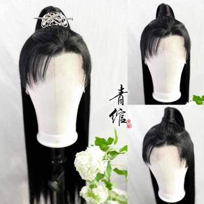 Chinese hanfu warrior prince swordsman cosplay wig for men Han Dynasty men ancient costume film and television wig set celebrates antique cos wig