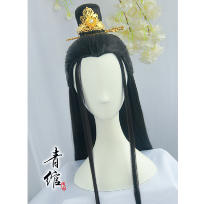 chinese hanfu wig for men ancient style cos ancient costume film and TV night china hanfu black versatile beauty pointed warrior swordsman wig headwear for men