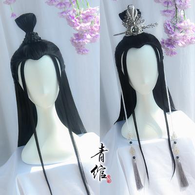 Chinese hanfu warrior prince swordsman cosplay wig for men Ancient style cos ancient costume film night china hanfu black versatile beauty wig headgear and man's hair bun