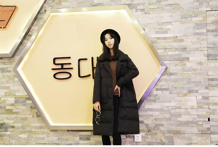 Trắng vịt xuống lỏng đoạn dài 茧 loại trên đầu gối phù hợp với cổ áo Hàn Quốc phiên bản của kích thước lớn dày xuống áo khoác nữ thủy triều chống mùa đặc biệt
