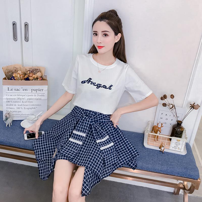实拍 新款学生字母刺绣纯棉短袖T恤+不规则格子半身裙时尚套装女