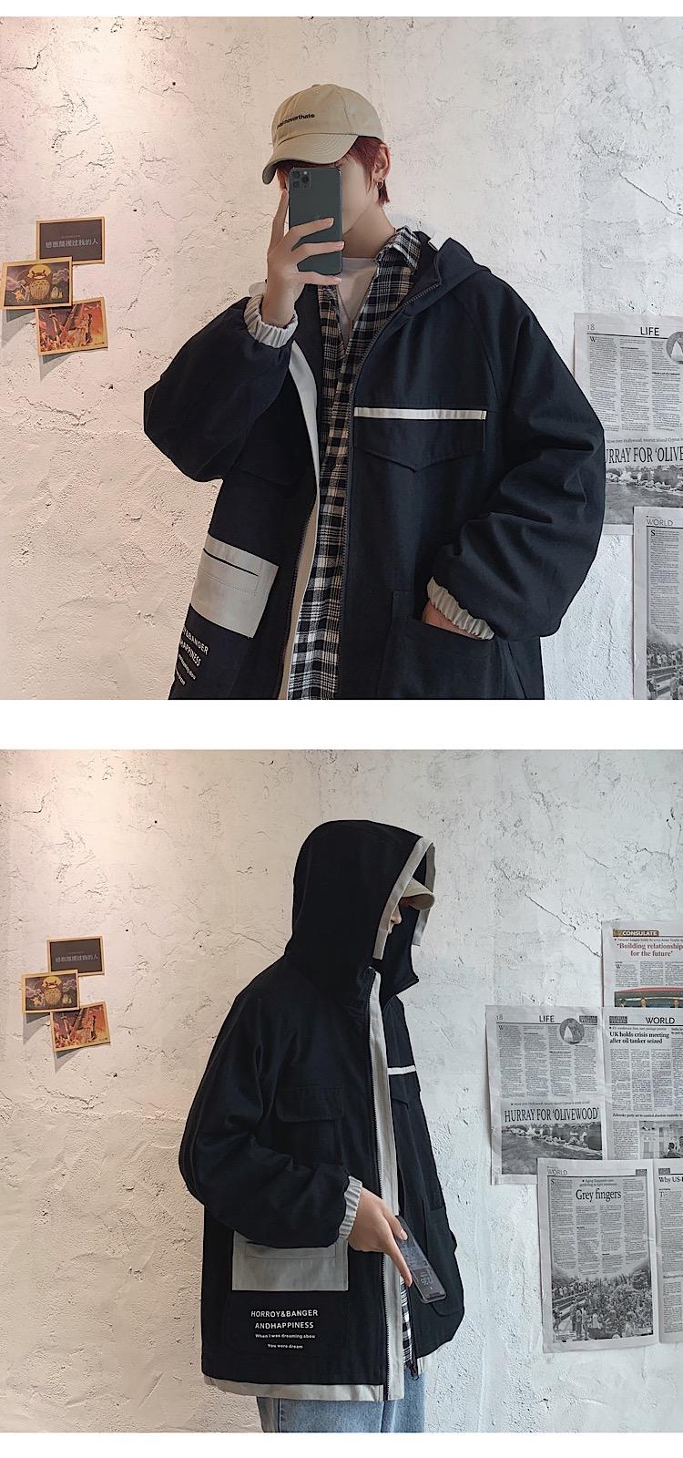 2020秋装新款港风韩版宽松男连帽夹克撞色外套潮上衣 JK19028/P85