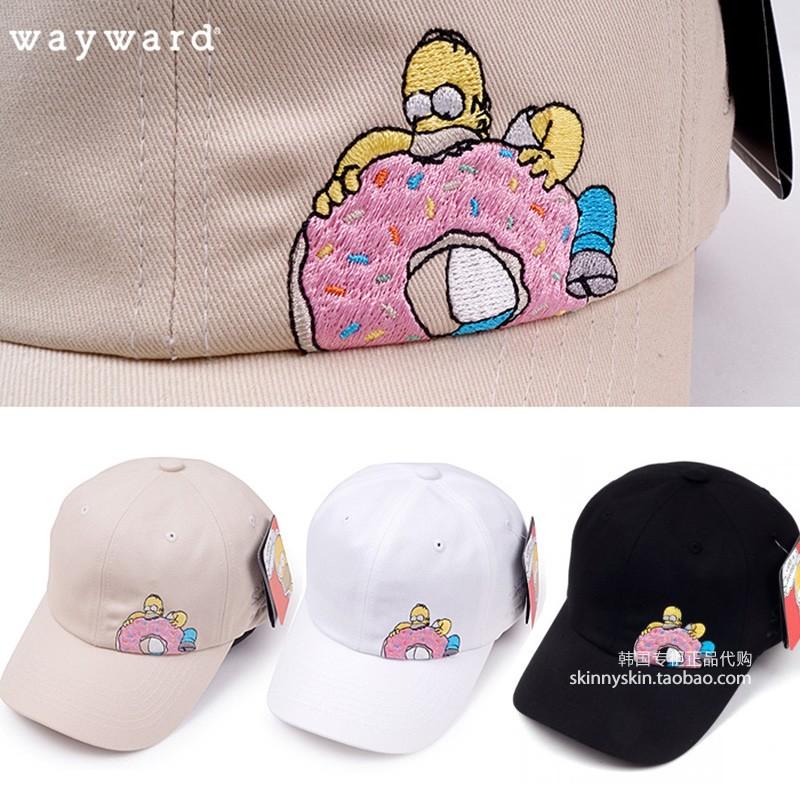 精品百貨城韓國代購 WAYWARD SIMPSON 男女歐美風甜甜圈辛普森刺繡卡通帽子