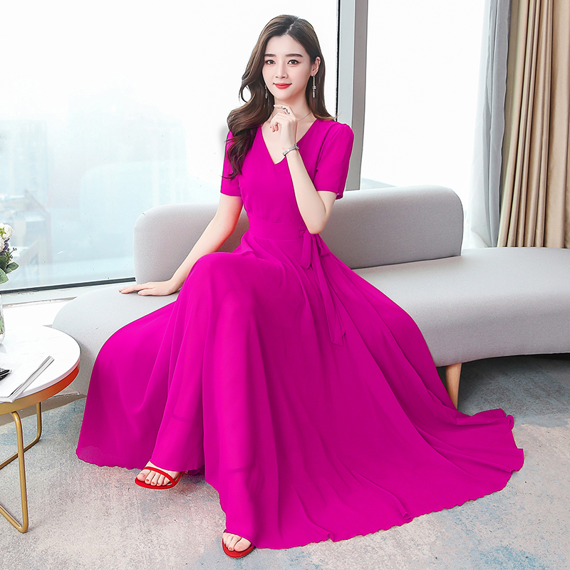 长裙连衣裙女2020初夏季新款连衣裙V领短袖气质修身显瘦大摆雪纺