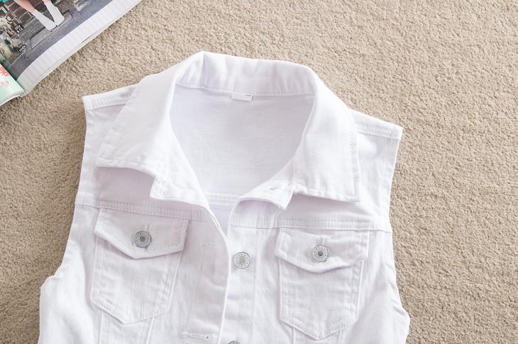2018 mùa xuân mới ngắn denim vest của phụ nữ kích thước lớn lỗ thời trang hoang dã mỏng giảm béo vest áo khoác