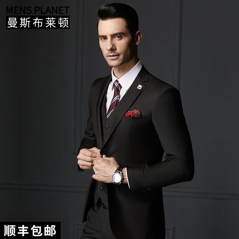 曼斯布萊頓西服套裝男正裝職業西裝套裝男黑色修身四季745015