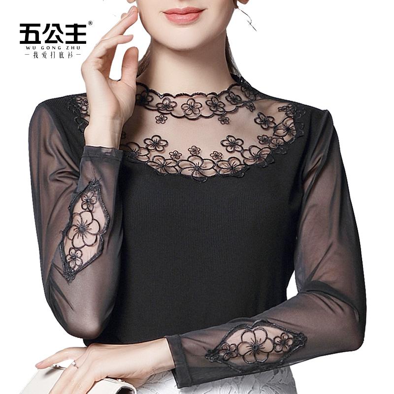 五公主半高领蕾丝打底衫2018春秋新款女装黑色网纱长袖纱衣薄上衣