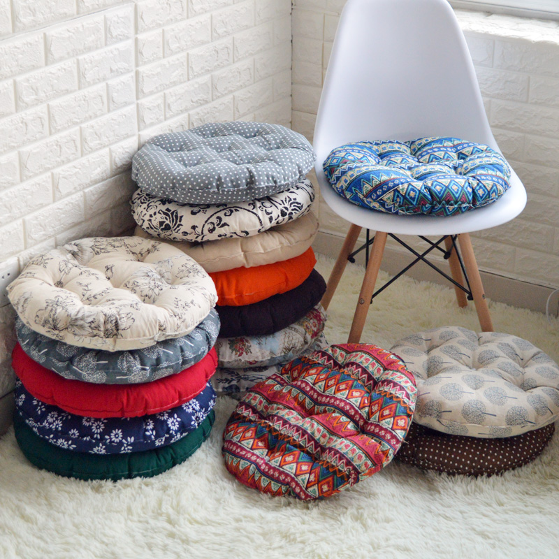 Cotton Ass Mat Tatami Round Cushion Office Chair Cushion Thick Cloth  Student Stool Rattan Chair Soft