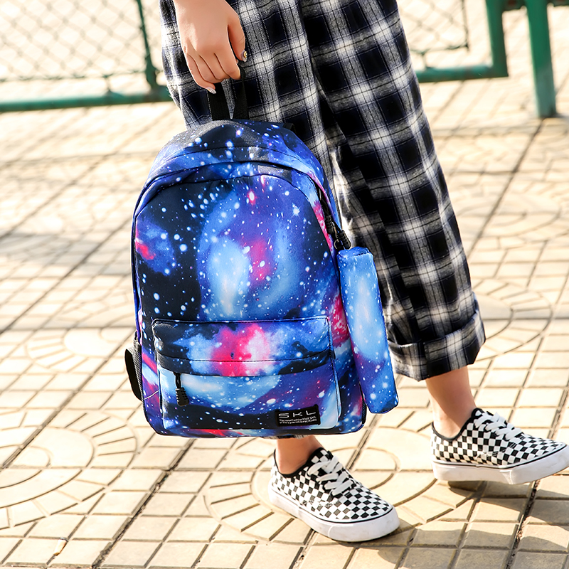 New two-piece starry sky backpack female Primary School student bag female Korean version of the tide campus college wind leisure bag