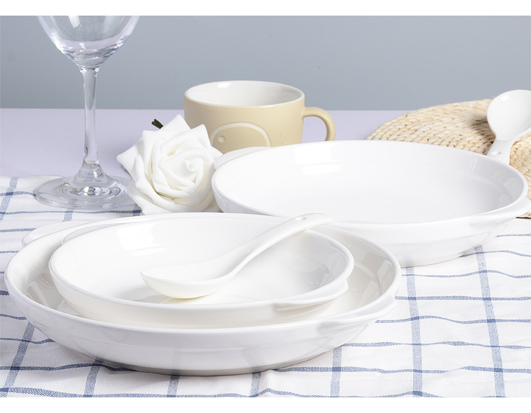GUCI Pure white pottery Western dishes plate binaural abalone steamed fish dish microwave oven dish cheese baked rice