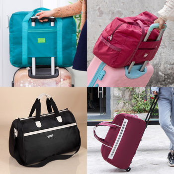 Trolley bag travel men and women portable travel bag large-capacity luggage boarding case can be folded short-distance waiting for storage