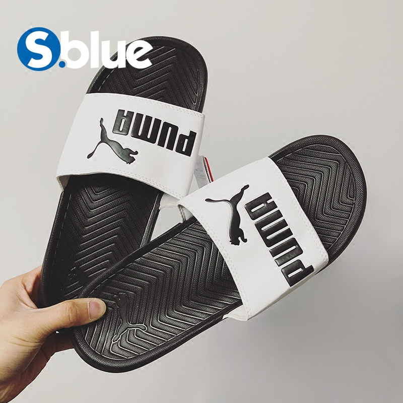 35ffd142912501 ... Puma Hummer Men and women couple slippers black and white letters  waterproof slippers 360265-01 ...