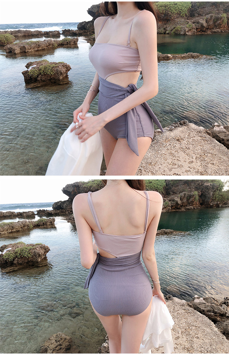 One-piece triangle swimsuit with strapless waist NHHL204956
