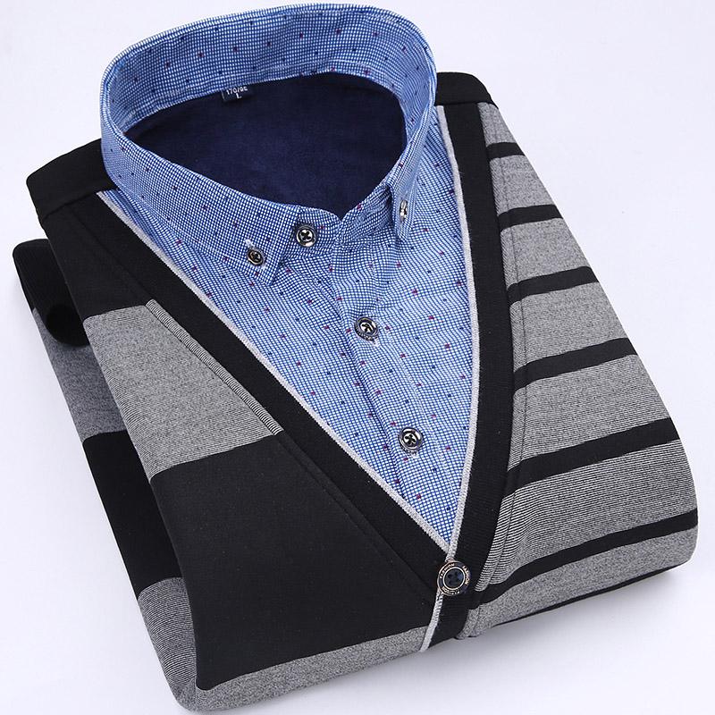 冬季男士加绒加厚保暖衬衫长袖套头假两件针织衫毛衣弹力休闲衬衣