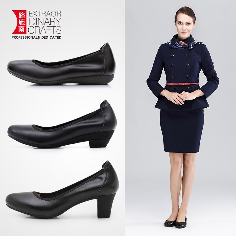 路施南皮鞋舒适工作鞋女职业女鞋上班单鞋平底空姐软底黑色鞋工鞋