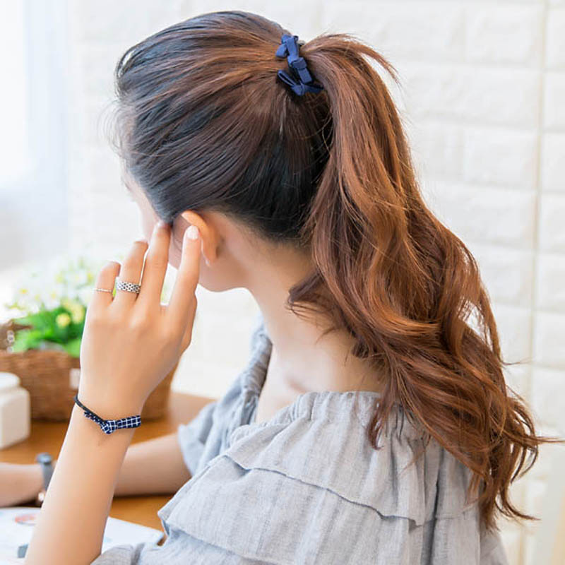 Girl's Hair Accessories Fashion Kids Baby Female Solid Color Bow Hair Rope Rubber Band Girl Apron Rubber Band Tiara Hair Accessories Hair Ring
