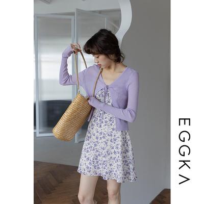 taobao agent Purple floral sling dress female spring and autumn 2021 new small design sense niche waist slim short skirt