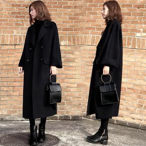 黑色中长款呢子大衣女过膝2017冬装新款韩版赫本复古茧型毛呢外套