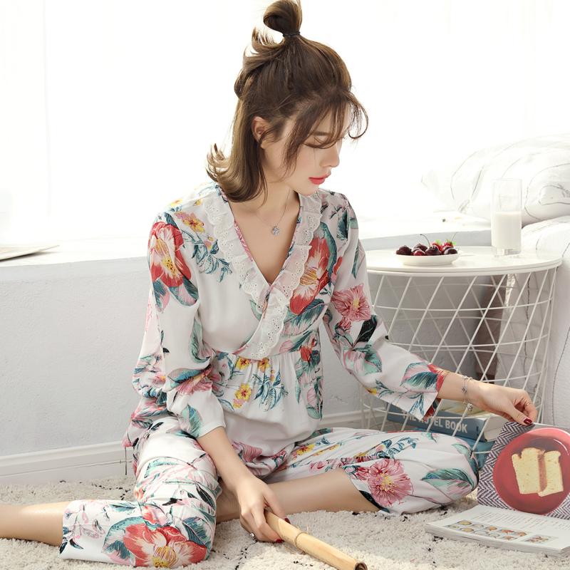 春秋天睡衣绵绸女士纯棉薄款长袖绸套装韩版人造棉宽松家居服大码