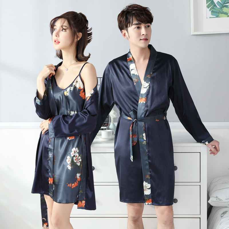 8fdbd4216b Nightgown spring and autumn couple bathrobe men and women thin ice silk long-sleeved  nightdress long sexy Japanese yukata female summer