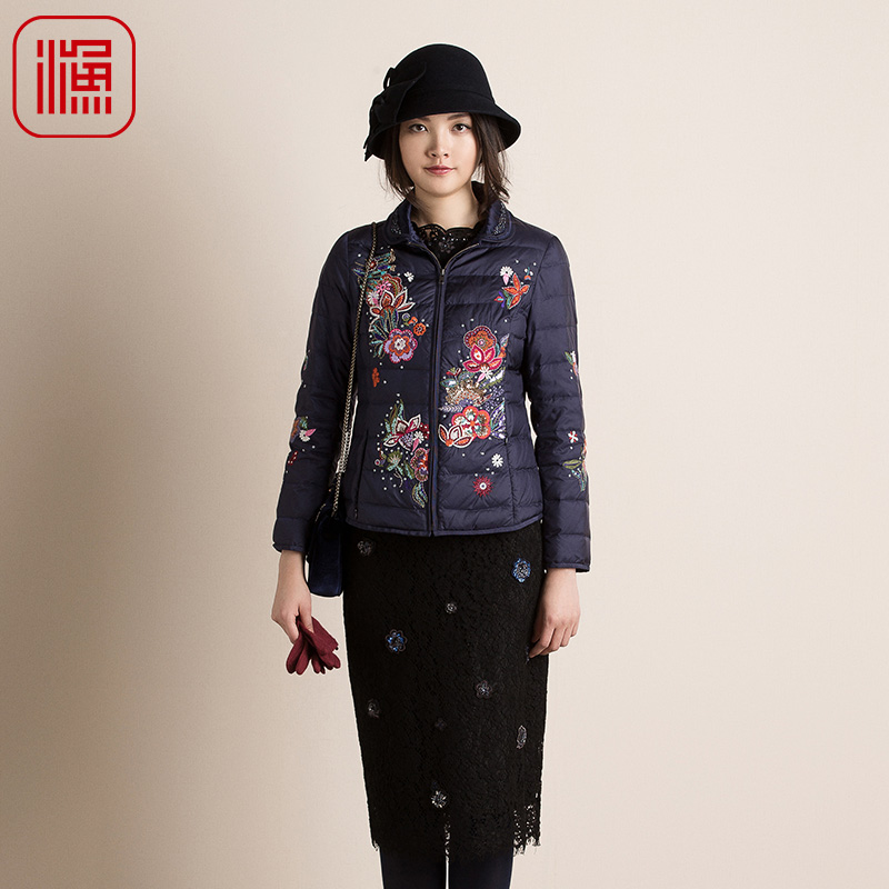 Fish 2018 autumn/winter embroidery light and warm down jacket women's long-sleeved down jacket y