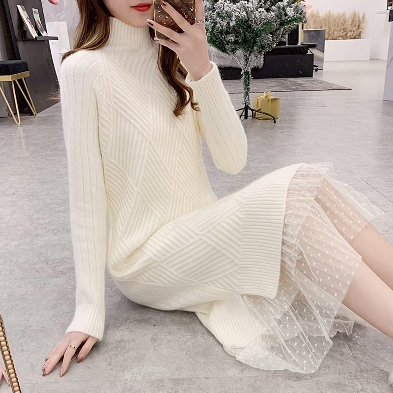 Mùa thu và mùa đông giảm béo mỏng dệt kim của phụ nữ giữa chiều dài dệt kim ren khâu áo len giảm béo áo len đáy - Áo len