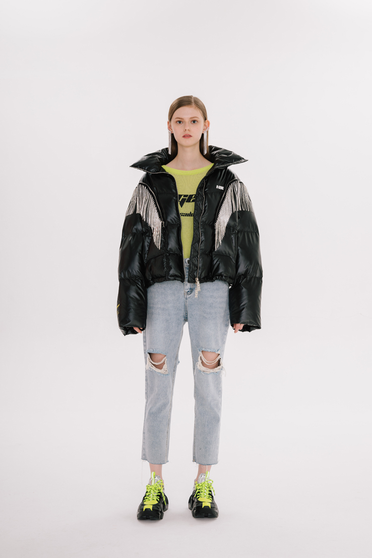 Áo khoác xuống 2020 mới mùa đông kim cương chuỗi tua rua có thể tháo rời phông chữ in giữa chiều dài bánh mì áo khoác thời trang thương hiệu áo khoác thủy triều - Xuống áo khoác