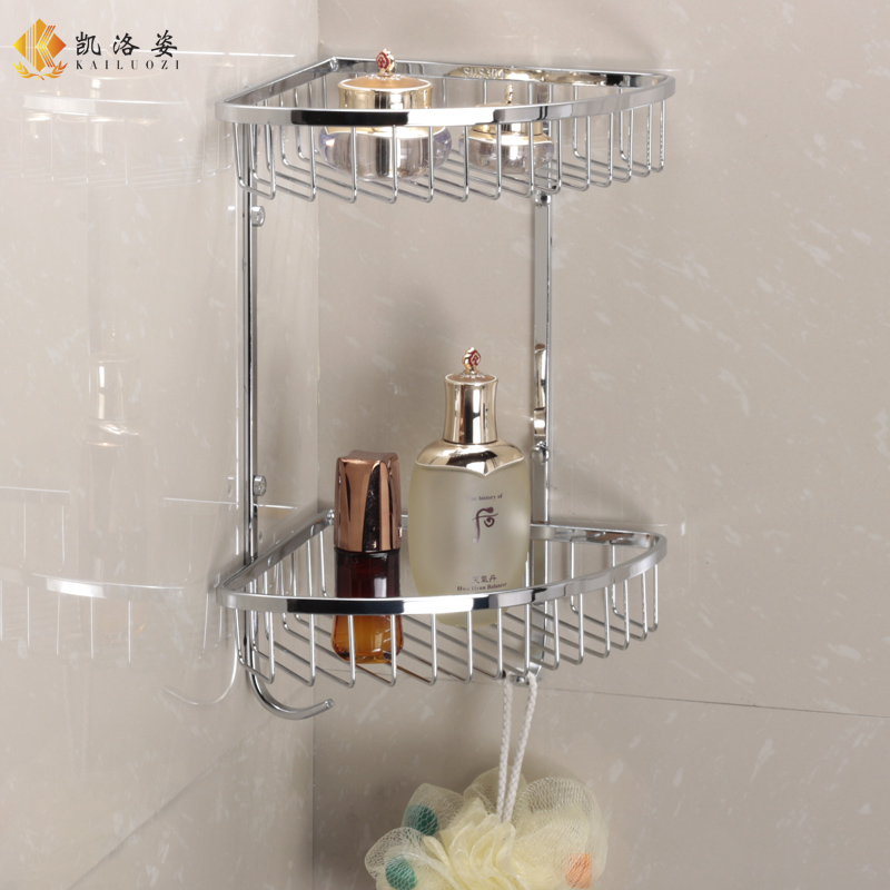 Sus304 Stainless Steel Double Layer Bathroom Corner Shelf Stainless Steel  304 2 Tier Bathroom Shelf Mesh