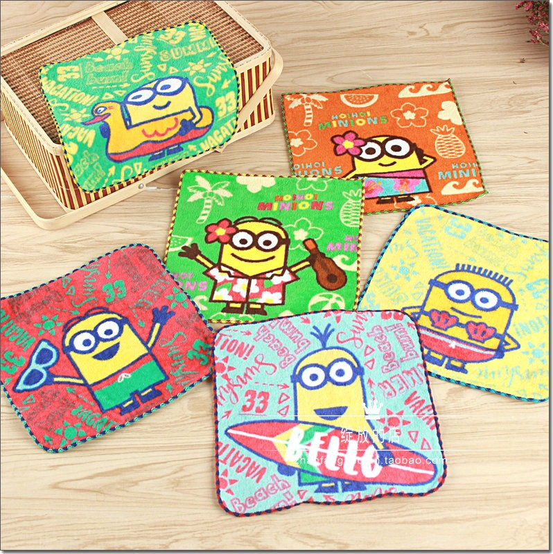 The new hot sale recommends foreign trade Japan's original simple cotton cut velvet print xiao Huangren cute cartoon mouth towel handkerchief.