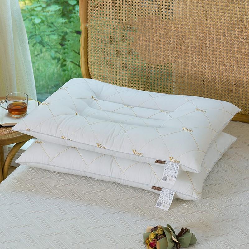 决明子全棉磁石抗菌刺绣枕头一对装荞麦学生单双人成人护颈椎枕芯