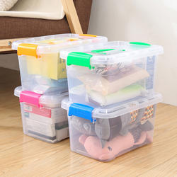 Portable thick transparent storage box plastic box with lid storage box toy clothes finishing box storage box