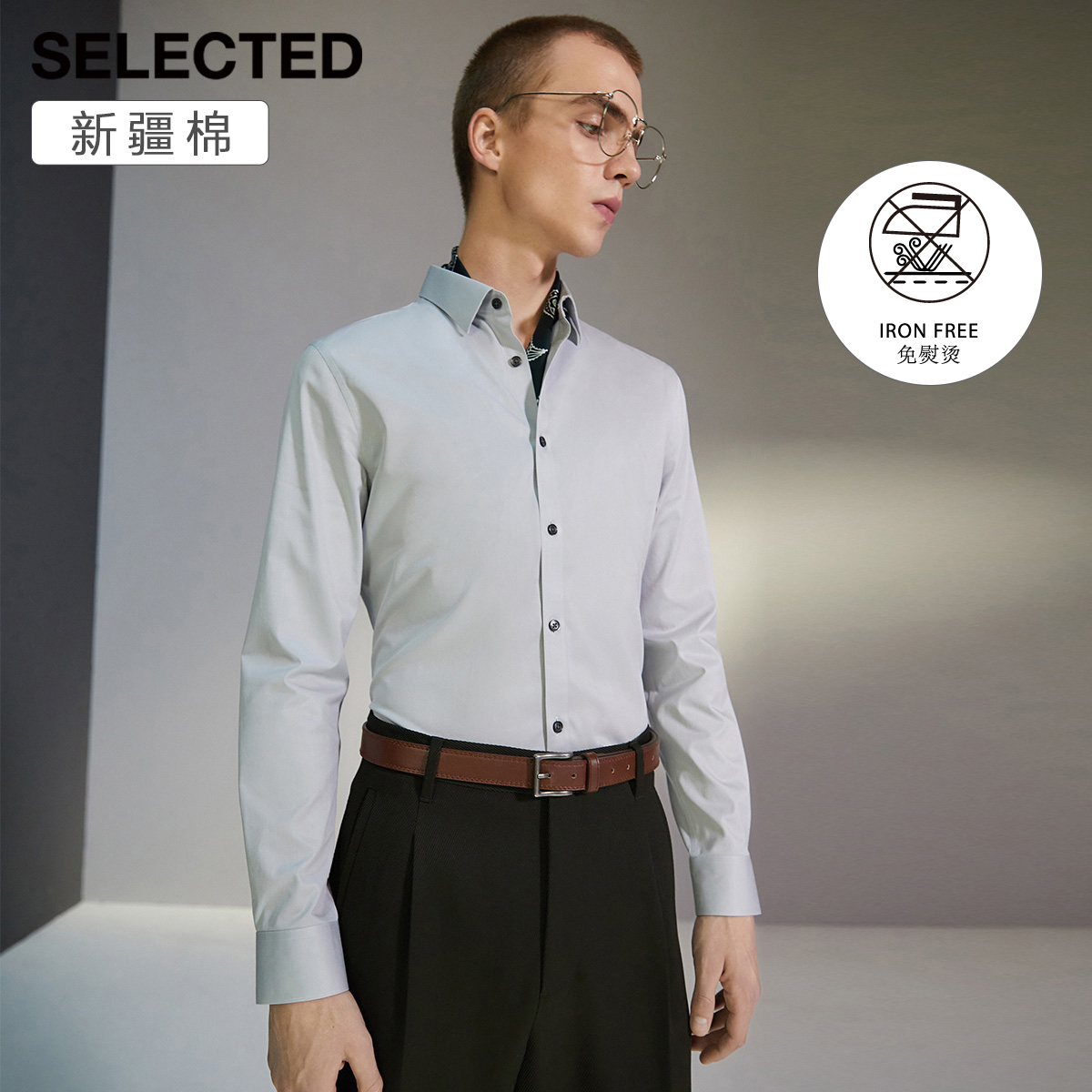(Xinjiang cotton) SELECTED Slade men's non-ironing slim business long-sleeved shirt T)419305547