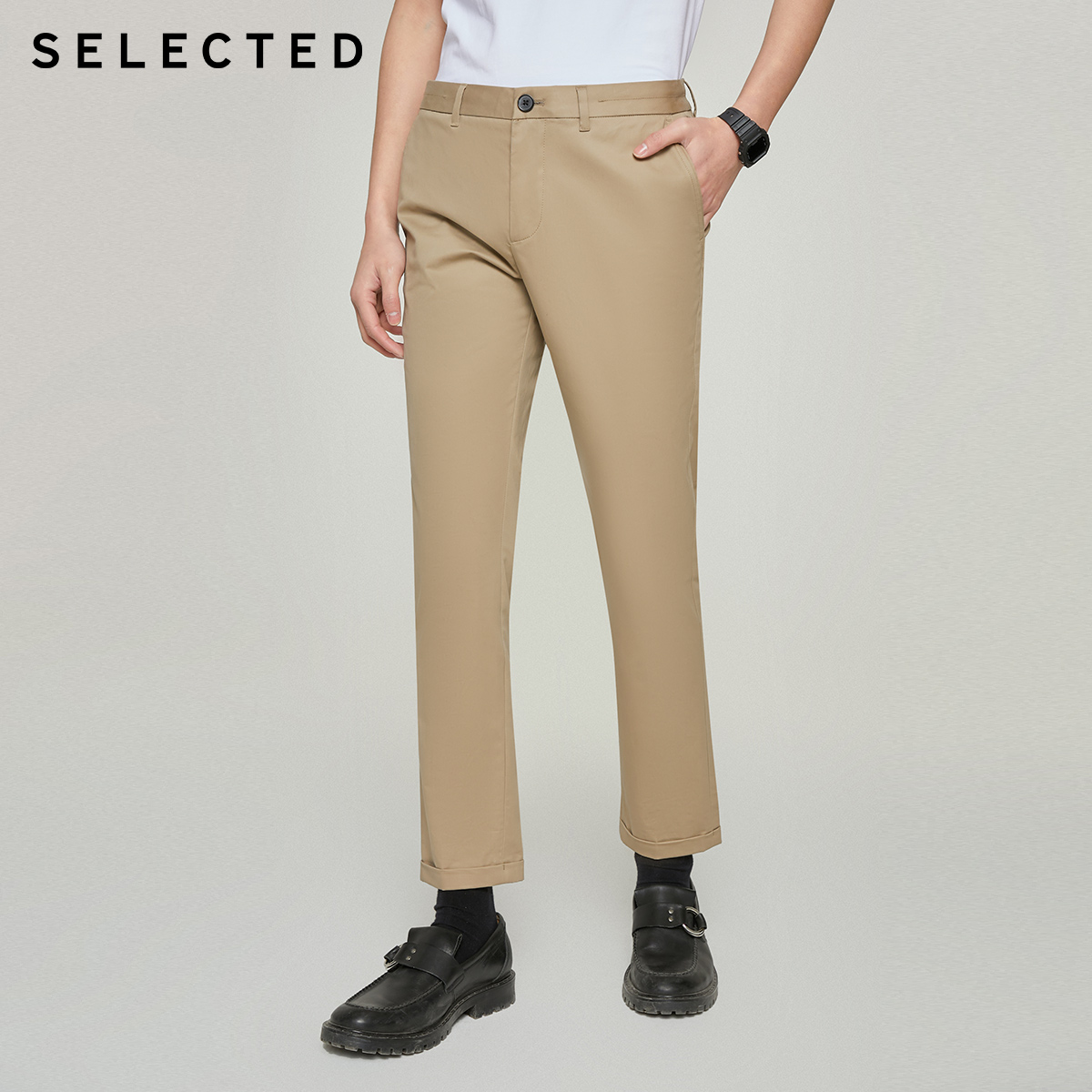 SELECTED Slade autumn new men's micro-elastic cotton slim solid-color business SLACKS S) 420114530